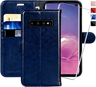 MONASAY Galaxy S10 Wallet Case, 6.1 inch, [Included Screen Protector] Flip Folio Leather Cell Phone Cover with Credit Card Holder for Samsung Galaxy S10