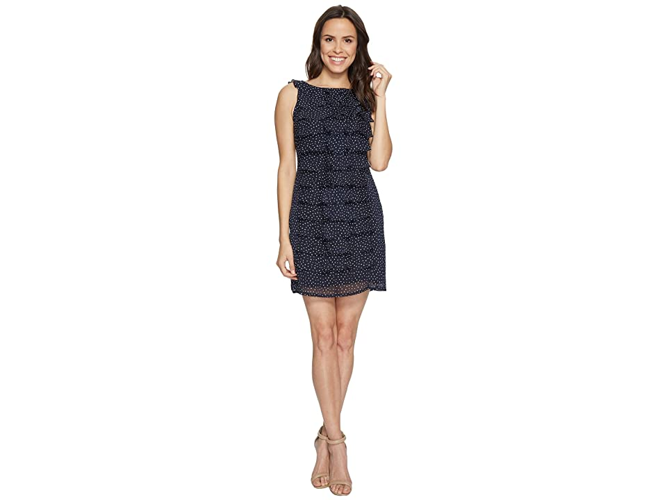 Adrianna Papell Dot Printed Crinkle Chiffon Shift Dress (Navy) Women