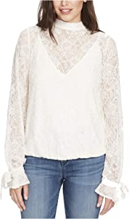 William Rast Women's Rayne Lace Mock-Neck Long-Sleeve Top