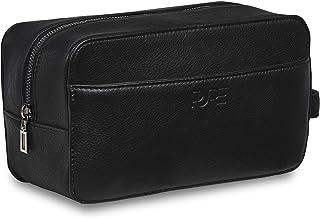 PURE Leather Studio Kulturbeutel Atlas - Große Kulturtasche aus Echtleder für Damen und Herren Waschtasche mit XL Fach Ledertasche für Rasierer Kosmetik Toiletten-Tasche schwarz