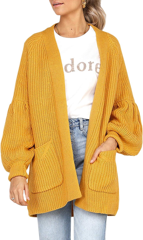 Hiblueco Women's Open Front Puff Sleeve Loose Long Knit Cardigan Pockets
