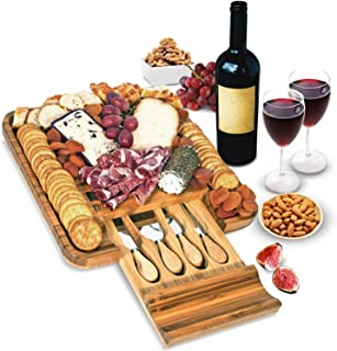 Best Bamboo Cheese Board and Knife Set - Wood Charcuterie Board Set - Serving Meat & Cheese Board with Slide-Out Drawer for Cutlery - 4 Stainless Steel Knives and Server Reviews