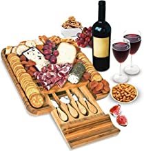 Bamboo Cheese Board and Knife Set – Wood Charcuterie Board Set – Serving Meat..