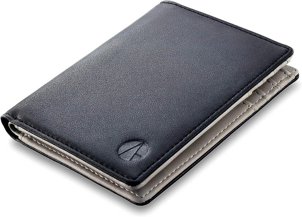 E-gale portafoglio per uomo elegante porta carte di credito con protezione rfid in pelle Nero - Grigio