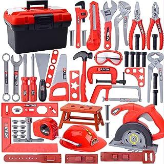 Juego herramientas de reparación de simulación para niños, juego de caja de herramientas de destornillador de taladro eléctrico de juguete de rompecabezas para el hogar (Caja de herramientas B 57PC)