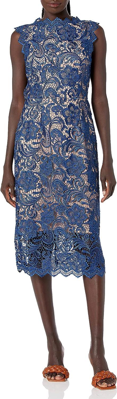 Dress the Population Women's Claudette Lace Sheath Midi Dress, Navy/Nude, XXS