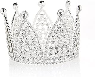 JANOU Crown Cake Topper Crystal Tiara Children Hair Ornaments for Wedding Birthday Party Cake Decoration (Silver)