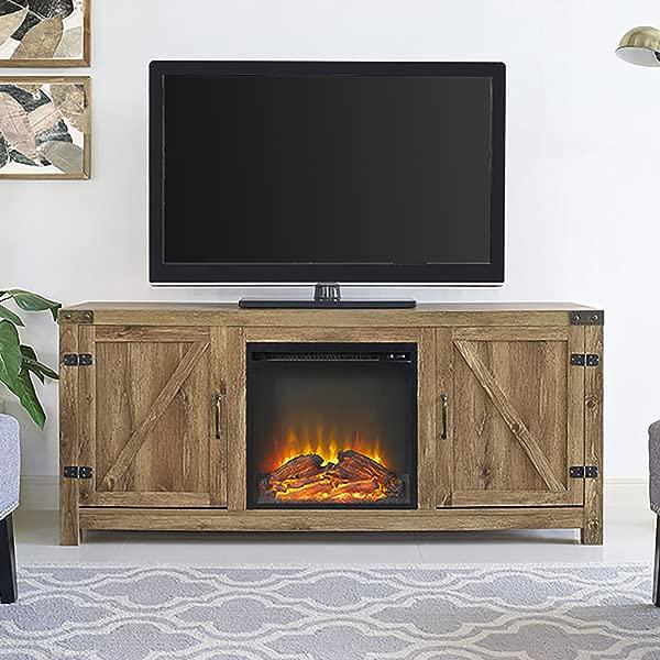 新英寸宽的谷仓门壁炉电视柜 Barnwood 月号色