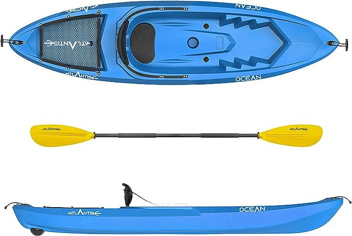 canoa ocean blu - schienalino + ruotino + pagaia atlantis kayak b07t2dckp1