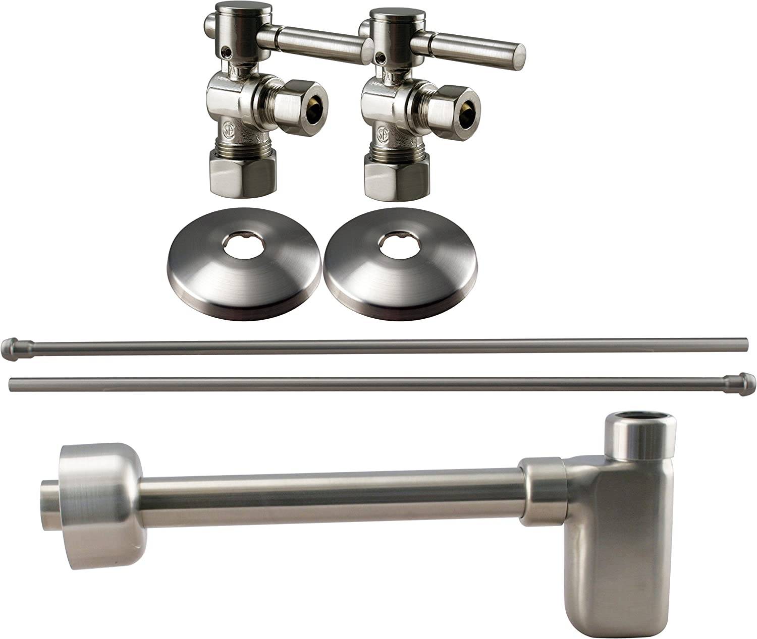 Westbrass D19105BLK-07 1 2-Inch Nominal Compression Lever Handle Angle Stop Complete Pedestal Sink Inssizetion Kit in Satin Nickel