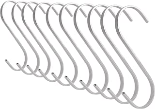 (10x Small, Stainless Steel) - Flat S-Shaped Hanging Hooks - For Kitchen Utensils, Garage or Garden Tools, etc. - Heavy Du...