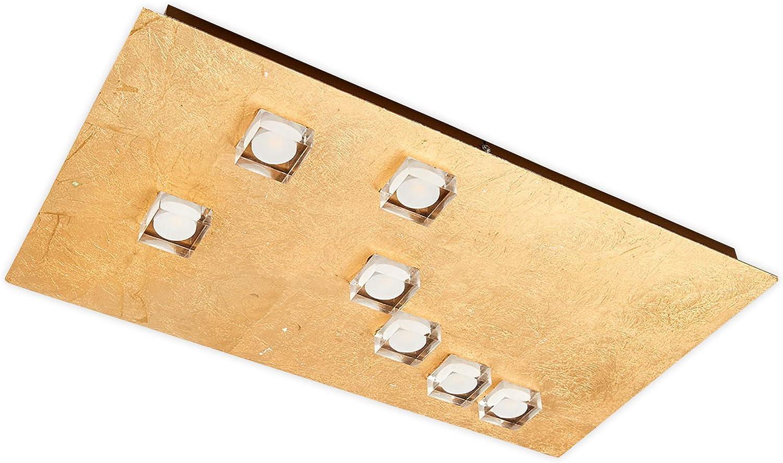 Lampenwelt LED Deckenleuchte 'Codrin' (Modern) in Gold Messing aus Metall u.a. für Wohnzimmer & Esszimmer (7 flammig, A+, inkl. Leuchtmittel) - Lampe, LED-Deckenlampe, Deckenlampe, Wohnzimmerlampe