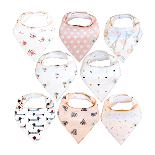 Baby Bandana Drool Bibs 8 Pack for Girls, Hypoallergenic Soft Organic Cotton with Snaps for