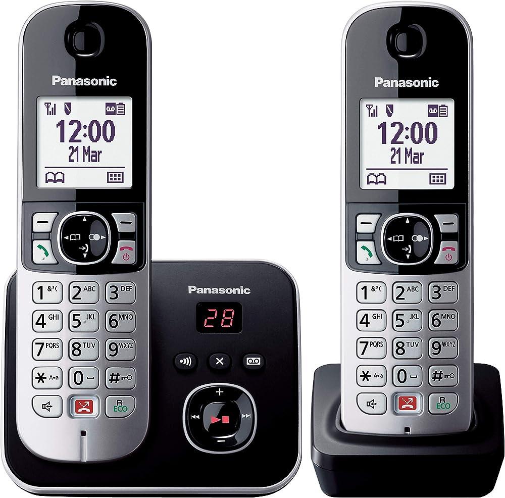 Panasonic, telefono cordless  (twin pack) con segreteria telefonica, vivavoce DECT Doppio