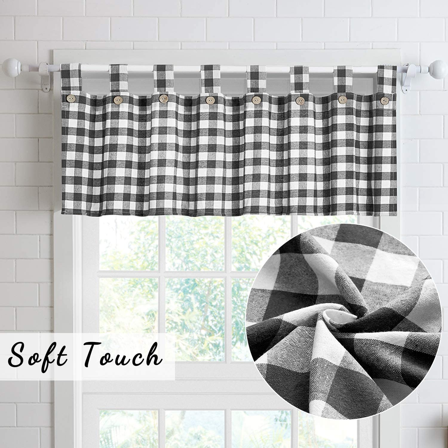 Buy 3 Piece Cotton Kitchen Curtains And Valances Set For Small Windows Short Curtains 36 Inches Length For Cafe Bathroom Tab Top 56 X 36 Black White Online In Turkey B091tnr12w