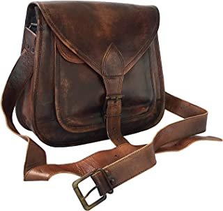 "kk's 12"" Inch Women Vintage Style Genuine Brown Leather Cross Body Shoulder Handmade Purse Tote Bag"