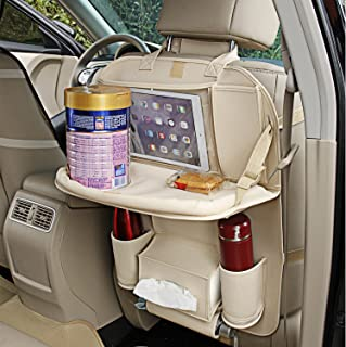 Eyglo PU Leather Car Backseat Organizer Seat Pocket Protector Storage for Bottle, Umbrella, Tissue Box, Toy Backseat Car Organizer With Tablet Holder for Android & iOS Tablets (Beige)