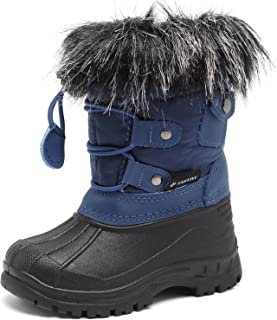 CIOR Fantiny Toddler Snow Boots for Boy Girl Winter Outdoor Waterproof Fur Lined Kids