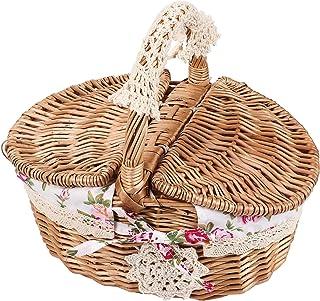 Fdit Panier de pique-nique en osier avec poignées et doublure, idéal pour les vacances, le camping, la maison, la décorati...