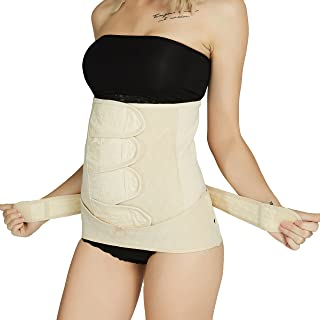 Neotech Care Postpartum Girdle & Pelvis Belt - Cotton - Post Pregnancy Belly Band Support Wrap - for Body Shaping, Tummy Trimming, Flat Stomach (Beige, L)