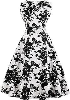 Floral Print High Waist Dress Women Summer Pin up Dresses Vestidos Female