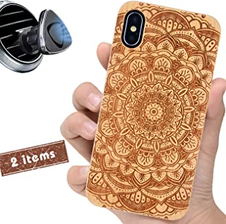 iProductsUS Wood Phone Case Compatible with iPhone Xs, X (10) and Magnetic Mount, Engraved Mandala Flower, Built-in Metal Plate, Wireless Charging Compatible, TPU Protective Cover (5.8 inch)