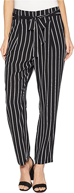 Striped Pants with Tie Up Belt Detail