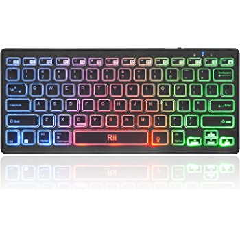 Rii Bluetooth 4.0 Wireless Multiple Color Rainbow LED Backlit Keyboard With Rechargeable Battery For iOS Android and Windows Tablet PC Laptop Notebook MacBook