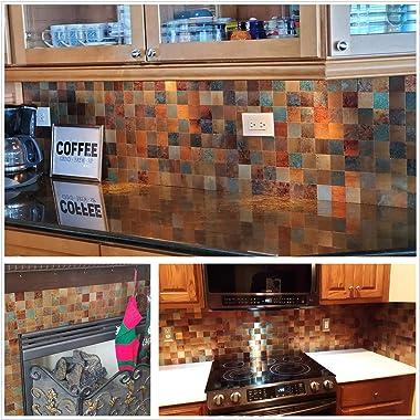 HomeyMosaic 10-Sheet Peel and Stick Backsplash Tile for Kitchen Aluminum 3D Wall Sticker Retro Bronze Square
