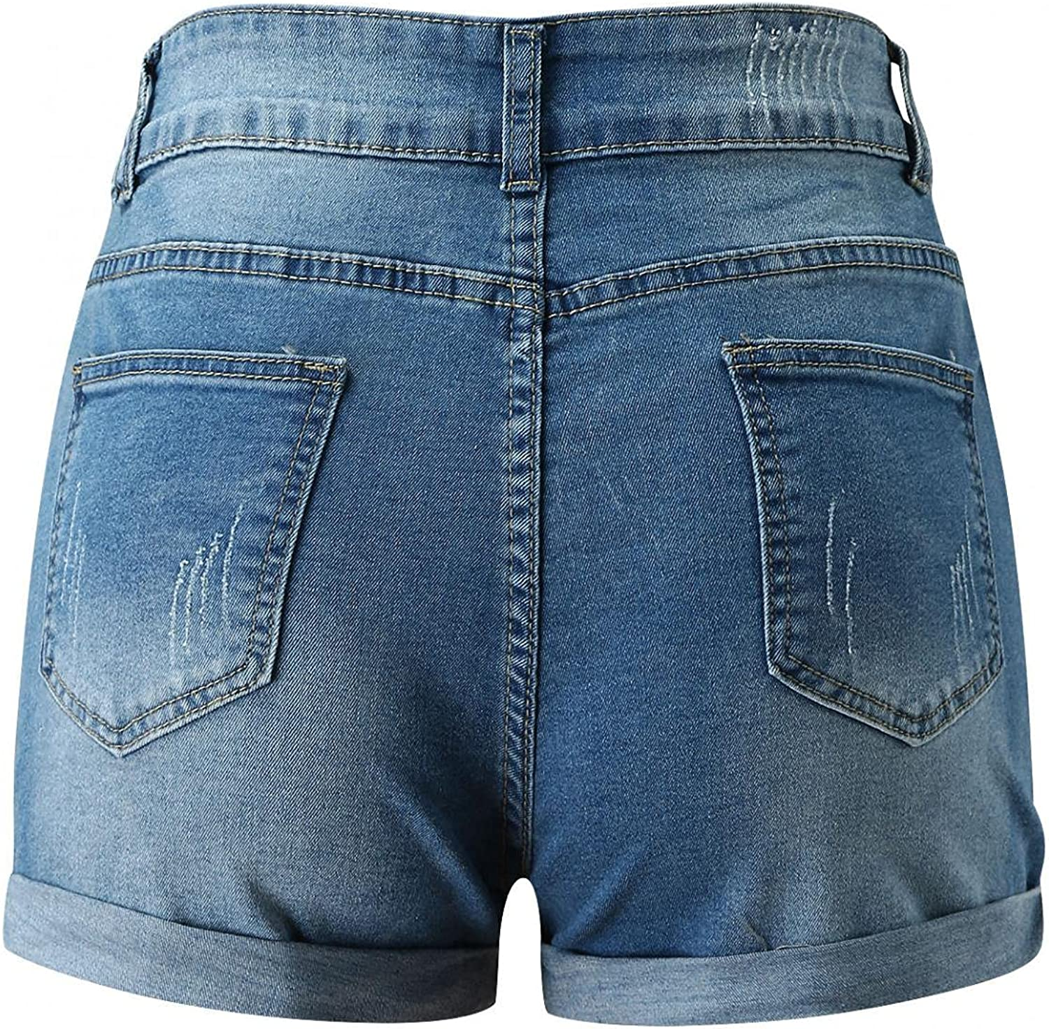 XINXX Womens Ripped Hole Short Jeans Mid-Rise Stretchy Frayed Raw Hem Distressed Skinny Denim Jeans Shorts