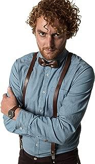 Mio Marino adjustable KLOOPE Leather Suspenders for Men - Fashion Y Back Bowtie Suspender Set