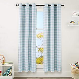 "Amazon Basics Kids Room Darkening Blackout Window Curtain Set with Grommets - 42"" x 84"", Grey Buffalo Plaid"
