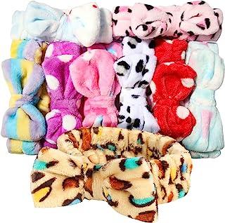 Teenitor 9pcs Bow Headbands,Soft Carol Fleece Hairlace Hairbands for Washing Face Makeup Shower, Women Fuzzy Headbands Spa...
