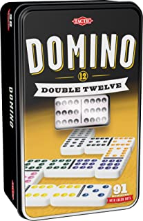 Double 12 Dominos   Easy to Learn   Popular Table Game   Classic Game for Friends & Family   2+ Players   Coloured Dots for Easy Play   Sturdy Storage Tin   Plastic Dominoes That Last   Age 7+