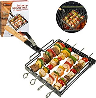 Camerons Products Skewer Rack Set with Removable Handle - Non-Stick Stainless Steel for Grilling Barbecue Shish Kabobs, BBQ Meat, Vegetables, Fruit - (1 Rack, 4 Skewers)