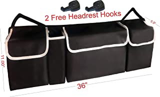Trunk Organizer Car, Truck, SUV Back Seat Organizer With (2 Free Headrest Hooks) Most Durable Insulated Organizer Keep In Shape With All Sided Back Velcro Free Up Your Trunk Space