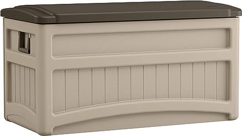 Suncast 73 Gallon Indoor/Outdoor Medium Deck Storage Box, Taupe/Brown