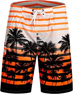 Men's Quick Dry Swim Trunks with Pockets Long Elastic Waistband Beach Board Shorts Bathing Suits
