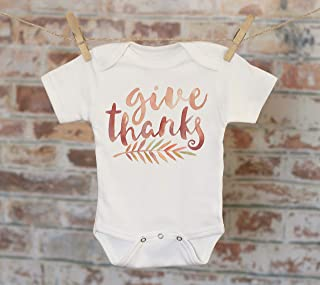 Give Thanks Watercolor Leaf Onesie - Autumn Fall Harvest Cute Baby Bodysuit Boho creeper onepiece