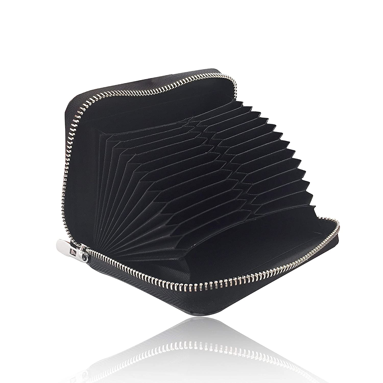 TERESA(テレサ) カードケース メンズ 本革 牛革 財布 カード 収納 じゃばら スキミング防止 磁気防止 高級 大量収納 大容量 24ポケット ギフト 箱 (ブラック)