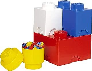 LEGO Storage Brick Multi Pack (4 Piece), Bright Red/Bright Blue/Bright Yellow/White