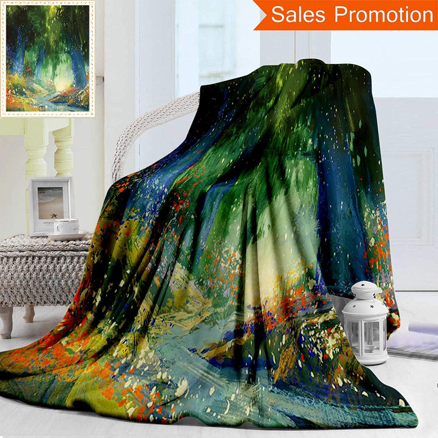 Unique Double Sides 3D Print Flannel Blanket Fantasy Art House Decor Magical Scene with Flower Field with Mist Lights Fairy Tale R Cozy Plush Supersoft Blankets for Couch Bed, Throw Blanket 50  x 60