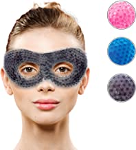 Gel Eye Mask with Eye Holes- Hot Cold Compress Pack Eye Therapy | Cooling Eye Mask for Puffy Eyes, Dry Eyes, Headaches, Migraines, Dark Circles, Sinus - Reusable Eye Face Mask | Ergo Gel Bead (Grey)