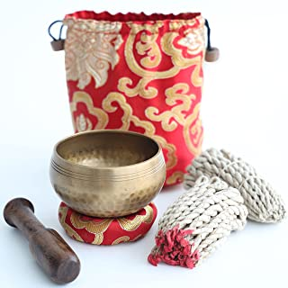 Tibetan Singing Bowl Set– with Lokta Rope Incense, 3.1 inch Authentic Handcrafted in Nepal – Meditation, Yoga, Chakra, Hea...