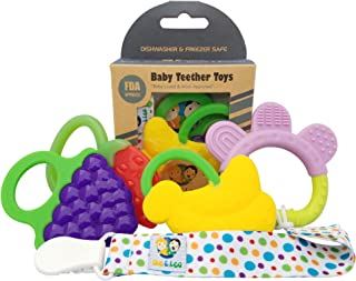 Ike & Leo Teething Toys: Baby Infant and Toddler WITH Pacifier Clip/Teether Holder, Best for Sore Gums Pain Relief, Eco Friendly BPA Free & Freezer Safe, Set of 4 Silicone Teethers