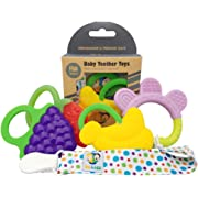 Ike & Leo Teething Toys  Baby Infant and Toddler with Pacifier Clip/Teether Holder   Best for Sore Gums Pain Relief   Eco Friendly BPA Free & Freezer Safe  Set of 4 Silicone Teethers (Assorted Fruits)