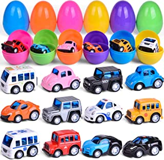 12 PCs Pull Back Die-cast Vehicles Prefilled Easter Eggs, Easter Basket Stuffers for Toddlers, Toy Cars for Easter Egg Fillers, Party Favors