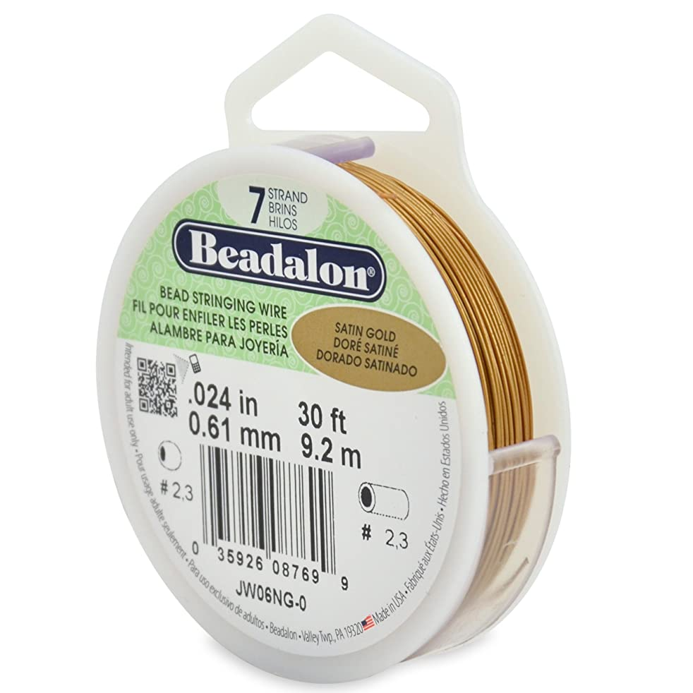 Beadalon 7-Strand Stainless Steel 0.024-Inch Bead Stringing Wire, 30-Feet, Satin Gold
