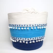"""LINLIN SUN Cotton Rope Tassels Storage Baskets as Bins Box Organizer Containers for Living-Room,Bedroom,Laundry,Toys,Decor 15"""" 12"""""""