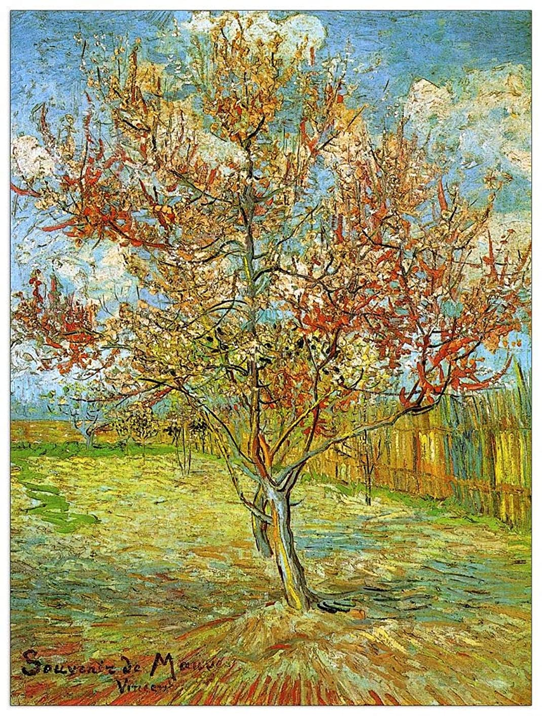 ArtPlaza TW90796 Van Gogh Vincent - Pink Peach Tree in Blossom Reminiscence of Mauve Decorative Panel 27.5x35.5 Inch Multicolored